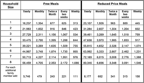 federal income eligibility guidelines for free lunch at school