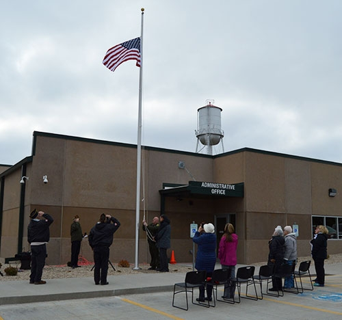 Retired Navy Master Chief Carl Christianson of Waukon provided introductions and opening remarks during the Thursday, November 8 flagpole dedication...