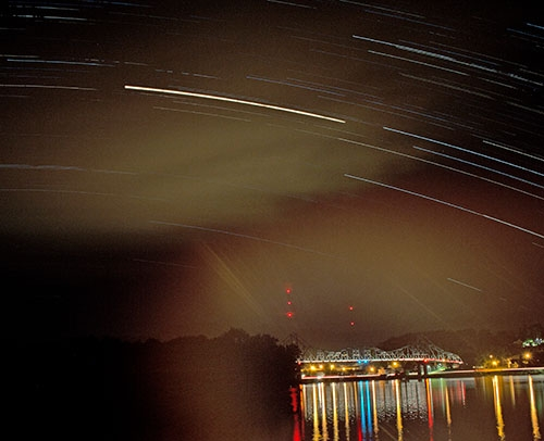 """Bruce Ferguson of San Diego, CA created this """"Star Trail"""" photo and submitted it to The Standard for publication consideration...."""