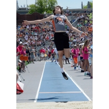 "One final flight ... Waukon boys track senior Isaiah Welch elevates himself in the Class 2A long jump competition at the State Track Meet in Des Moines Thursday, May 17, finishing 14th among the Class 2A field in the event with a leap of 19'8.5"". He also joined fellow senior Abe Schwartz and the sophomore pair of Brock Hatlan and Dawson Baures in the 4x200 relay at the season grand finale, running to a 20th-place overall finish in the 24-team Class 2A field of the event with a clocking of 1:35.07. View and"